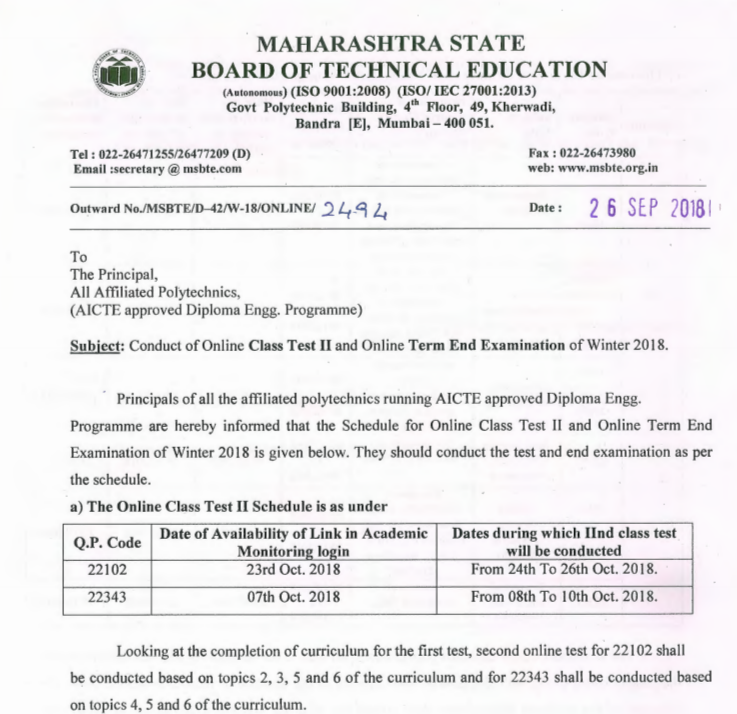 msbte online exam timetable winter 2018