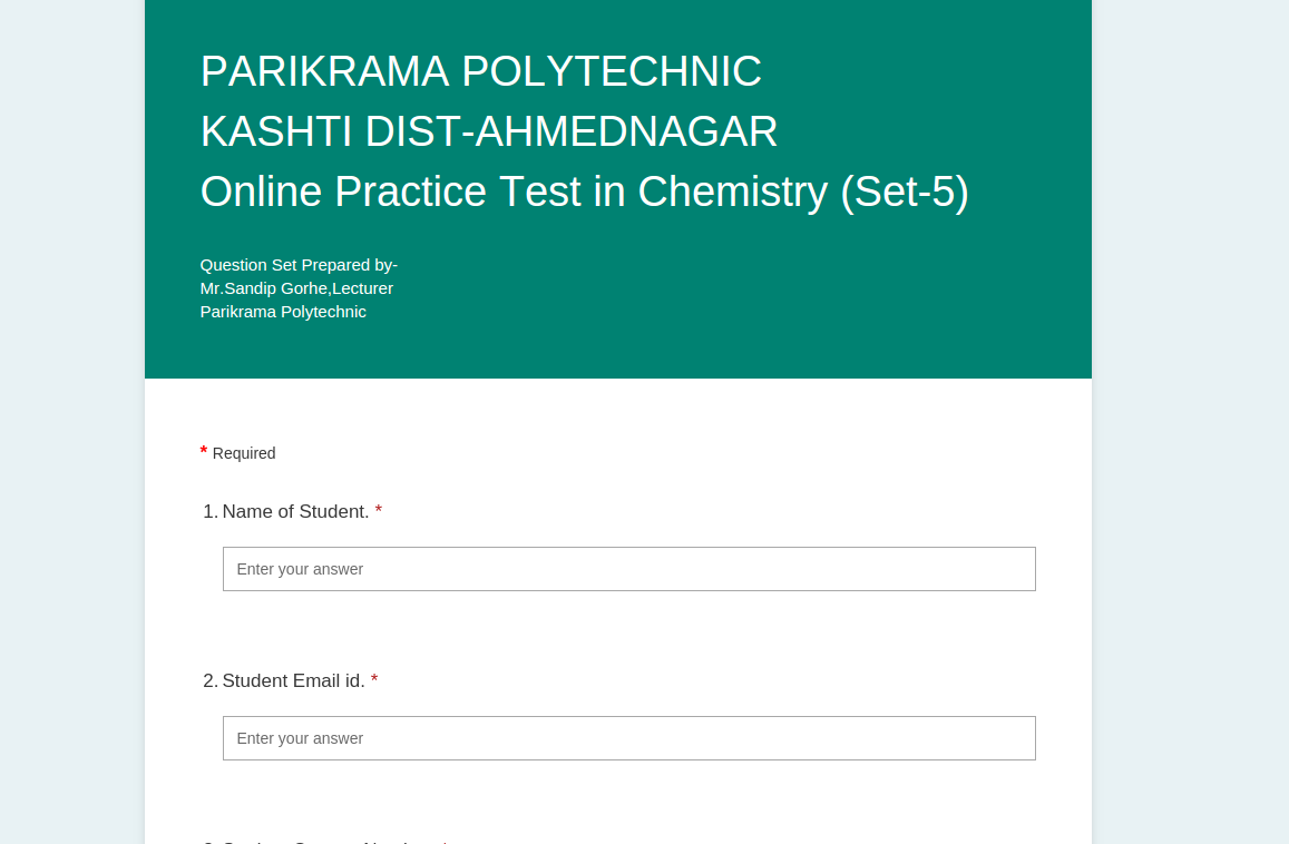 Online Practice Test Physics Chem sem 1
