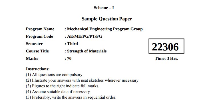 Sem III Sample question paper I-Scheme MSBTE